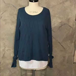 Teal and white layered sweater